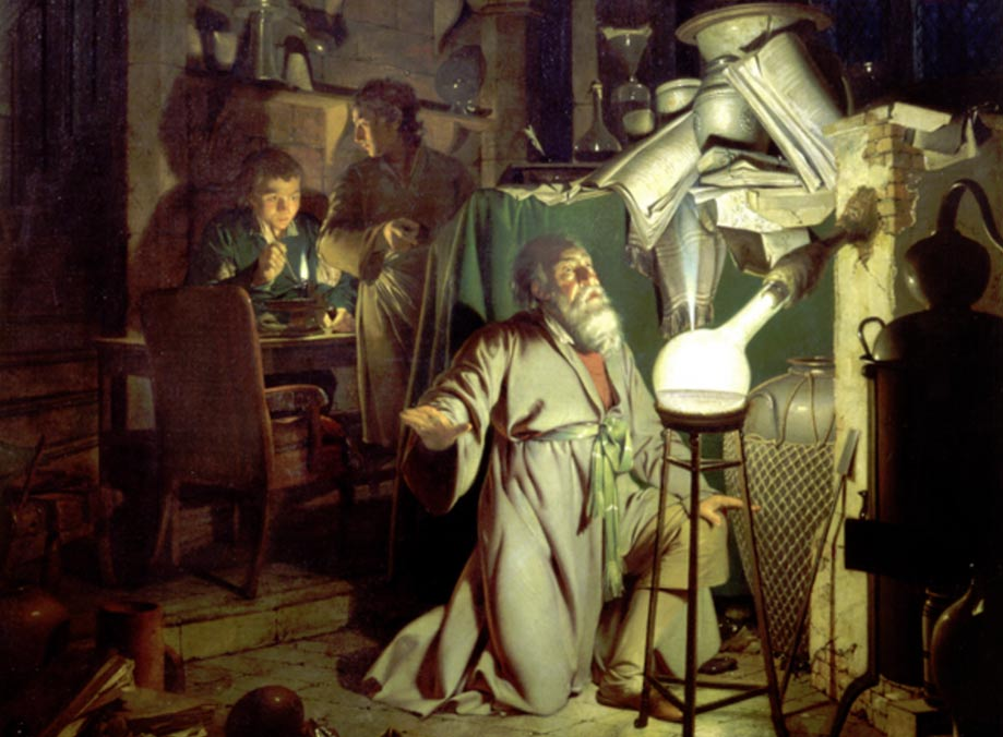alchimiste contemple la manifestation de la lumière divine dans son oeuvre initiatique